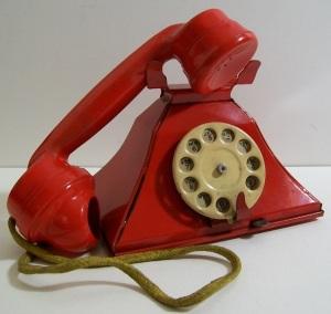Red tin toy telephone VTG 1960s