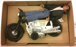 Fonzie figure with twist-out action motorcycle Mego Corp retro 1976 VTG